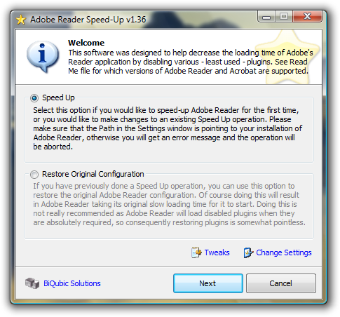 Click to view Adobe Reader installer Speed-Up 5.3.3 screenshot